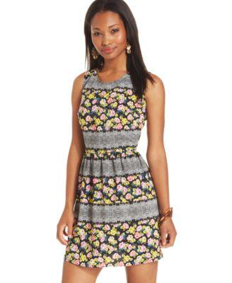 Pink Rose Juniors' Scoop-Neck Dress - Dresses - Juniors - Macy's