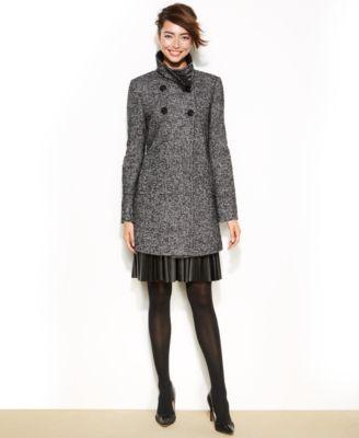 Larry Levine Petite Tweed Double-Breasted Coat - Coats - Women ...