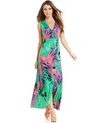 Spense Petite Tropical Print Tulip Hem Maxi Dress