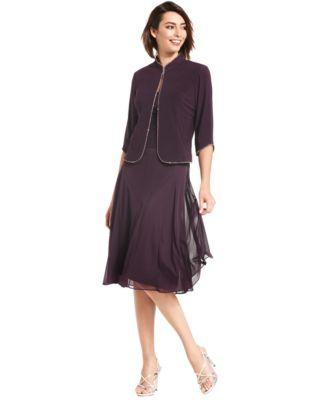 Alex Evenings Petite Jewel-Trim Dress and Jacket - Dresses - Women ...