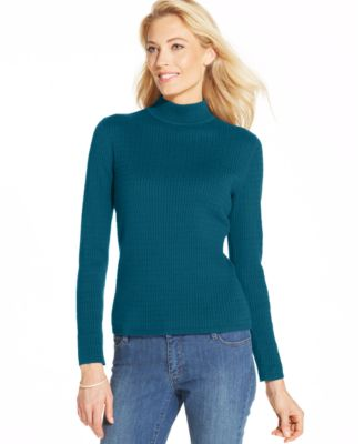 Karen Scott Long-Sleeve Cable-Knit Mock Turtleneck Sweater ...