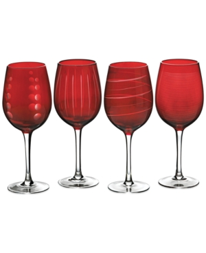 Closeout! Mikasa Cheers Ruby Wine Glasses, Set of 4