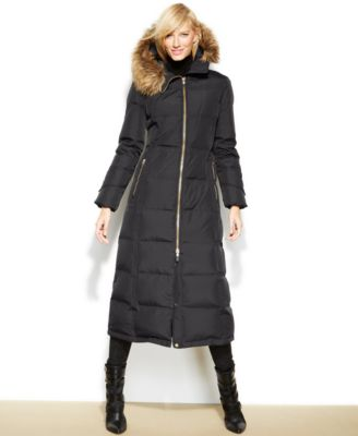 Calvin Klein Petite Faux-Fur-Trim Down Maxi Puffer Coat - Coats ...