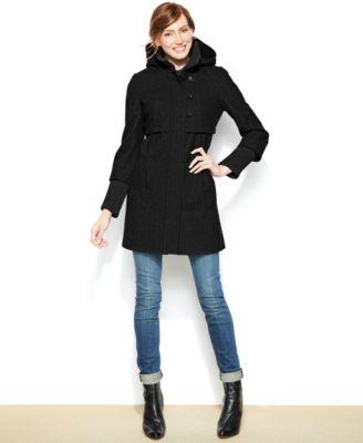 DKNY Hooded Wool-Blend Babydoll Coat - Coats - Women - Macy&39s