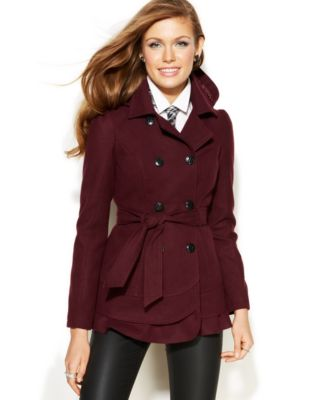 Celebrity Pink Hooded Belted Fleece Peacoat - Coats - Women - Macy's
