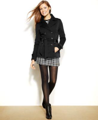 Jou Jou Fleece Double-Breasted Trench Coat - Coats - Women - Macy's