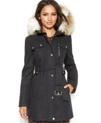 Marc New York Hooded Faux-Fur-Trim Toggle Coat - Coats - Women ...