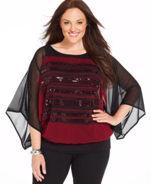 Alfani Plus Size Kimono-Sleeve Sequined Blouson Top