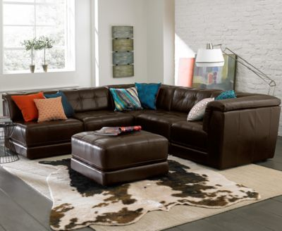 Stacey Leather 5-Piece Modular Sectional Sofa (2 Armless Chairs 2 Square Corners : 5 piece leather sectional - Sectionals, Sofas & Couches