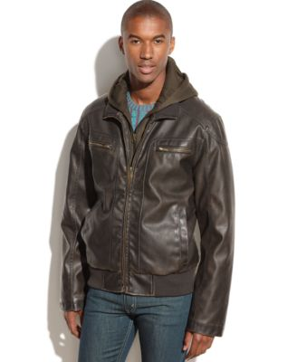 Sean John Hooded Faux Leather Bomber Jacket - Coats & Jackets ...
