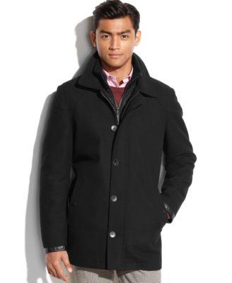 Vince Camuto Wool-Blend Nylon-Bib Car Coat - Coats & Jackets - Men ...