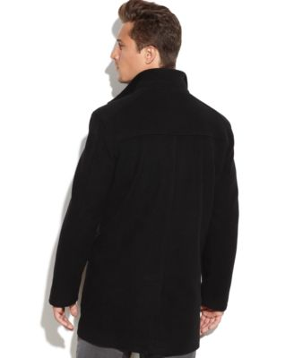 Cole Haan Wool-Blend Contrast-Bib Car Coat - Coats & Jackets - Men ...