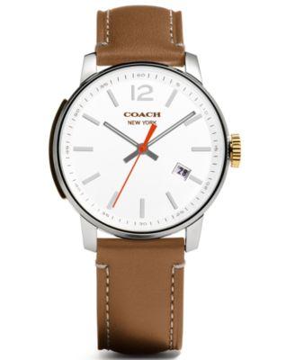 coach men s bleecker brown leather strap watch 40mm 14601520 coach men s bleecker brown leather strap watch 40mm 14601520