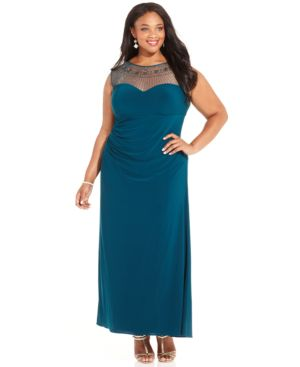 Patra Plus Size Illusion Embellished Gown