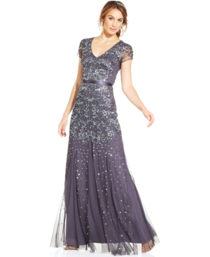 Adrianna Papell Cap-Sleeve Embellished Gown $203.04 AT vintagedancer.com