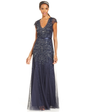 Adrianna Papell Cap-Sleeve Embellished Gown $299.00 AT vintagedancer.com