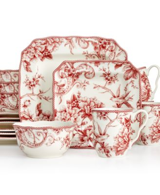 222 Fifth Adelaide Maroon Square 16-Pc. Set, Service for 4 ...