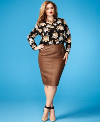 Charter Club Plus Size Faux-Leather Pencil Skirt - Skirts - Plus ...