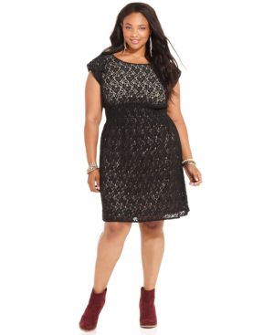 American Rag Plus Size Cap-Sleeve Lace A-Line Dress