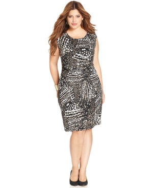 Ny Collection Plus Size Printed Side-Ruched B-Slim Dress