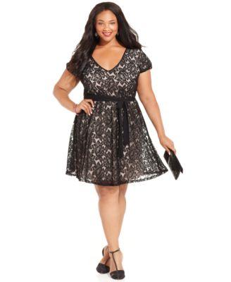 City Chic Plus Size Sleeveless Empire-Waist Laser-Cut Dress ...
