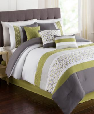 Lemoore Green 7 Pc Embroidered Queen Comforter Set Bed in a Bag