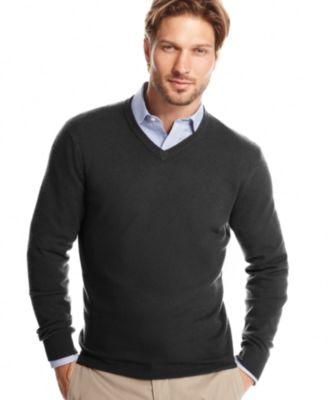 Club Room Sweater Merino Blend V Neck Sweaters Men
