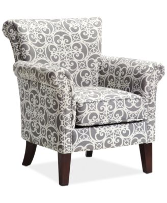 Sarah Printed Fabric Accent Chair, Direct Ship