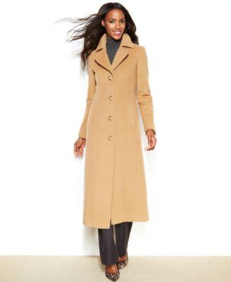 Anne Klein Wool-Cashmere-Blend Maxi Walker Coat - Coats - Women