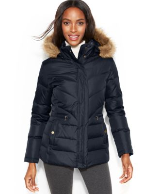 Larry Levine Petite Hooded Faux-Fur-Trim Quilted Down Puffer Coat