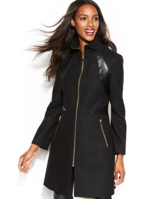 Via Spiga Faux-Leather-Trim Wool-Blend Coat - Coats - Women - Macy's