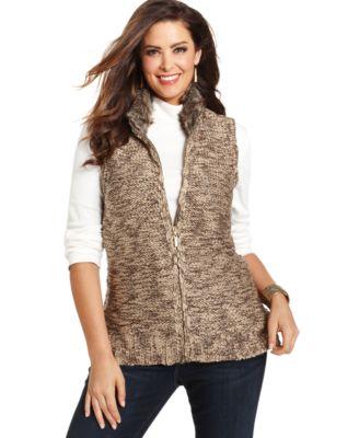 charter club plus size faux-fur collar vest - jackets & blazers