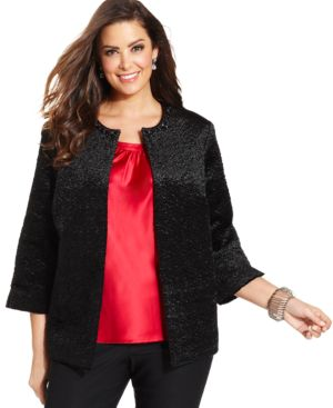 Alfred Dunner Plus Size Faux-Fur Embellished Jacket