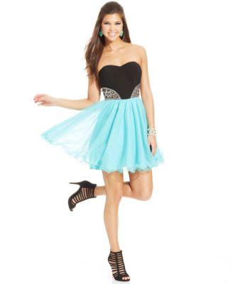 Blondie Nites Juniors\' Strapless Colorblock Dress - Dresses ...