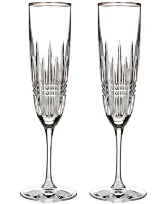 Waterford Lismore Diamond Platinium Flute Pair