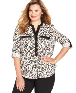 Jones New York Signature Plus Size Leopard-Print Utility Shirt