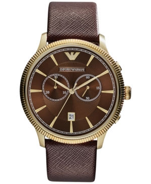 Emporio Armani Men's Chronograph Brown Saffiano Leather Strap Watch 43mm AR1793