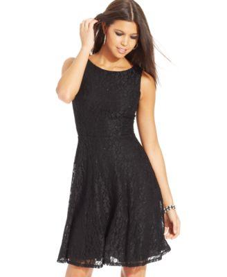 Crystal Doll Juniors Dress, Sleeveless Mesh Paillettes - Dresses ...