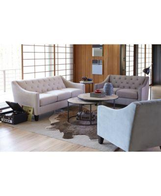 Chloe Velvet Tufted Sofa - Furniture - Macy\'s