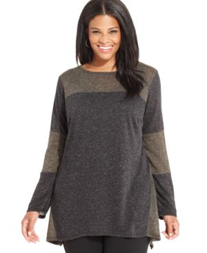 Agb Plus Size Long-Sleeve Colorblocked Sweater
