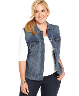 Levi's® Plus Size Denim Jacket, Saddle Blue Wash - Jackets ...