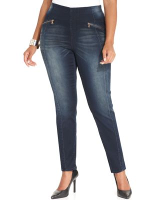 Hydraulic Plus Size Emma Super-Skinny Pull-On Jeans, Indigo Wash ...