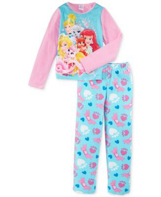 Disney Girls' or Little Girls' 2-Piece Fleece Princess Pajamas ...
