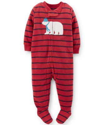 Carter's Toddler Boys' One-Piece Footed Fleece Polar Bear Pajamas ...