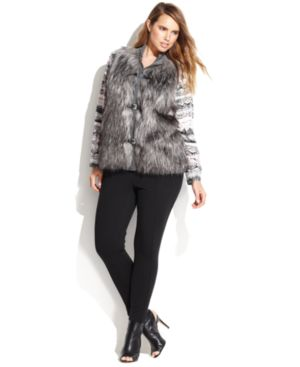 Calvin Klein Plus Size Buckled Faux-Fur Vest