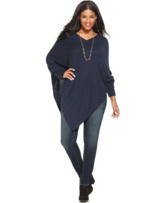 alfani plus size asymmetrical poncho sweater - sweaters - plus