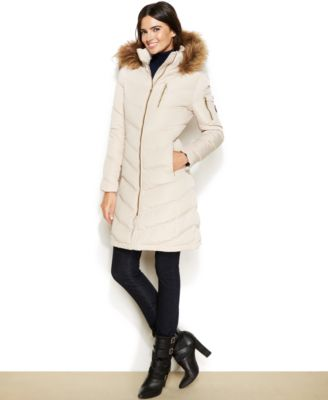 Calvin Klein Petite Faux-Fur-Hood Chevron Quilted Puffer Coat ...
