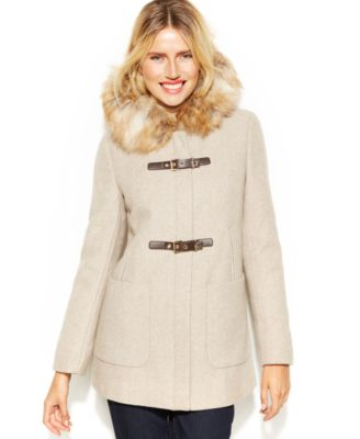 Calvin Klein Faux-Fur-Trim Buckle Duffle Coat - Coats - Women - Macy's
