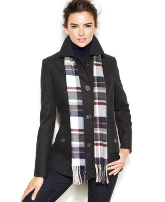 Nautica Single-Breasted Wool-Blend Coat with Scarf - Coats - Women ...