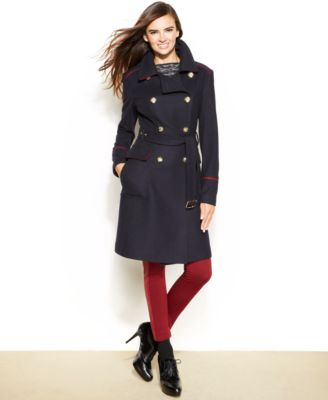 Vince Camuto Belted Wool-Blend Military Coat - Coats - Women - Macy's